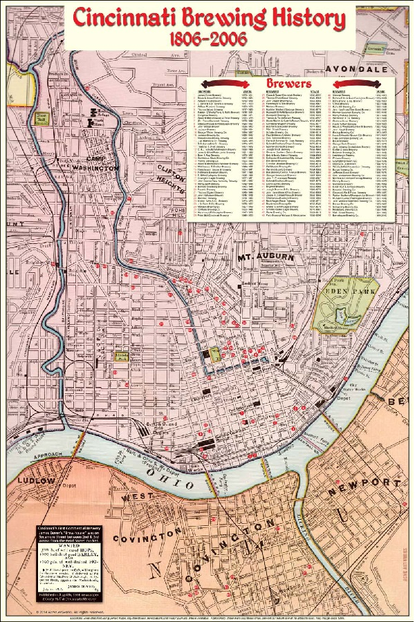 Cincinnati Brewing History map