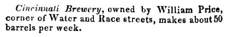 Cincinnati Brewery excerpt from 1834 city dir