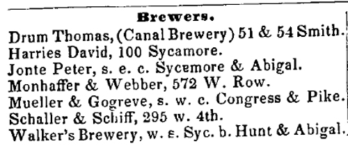 Excerpt of brewers in operation from 1856 Williams' city directory