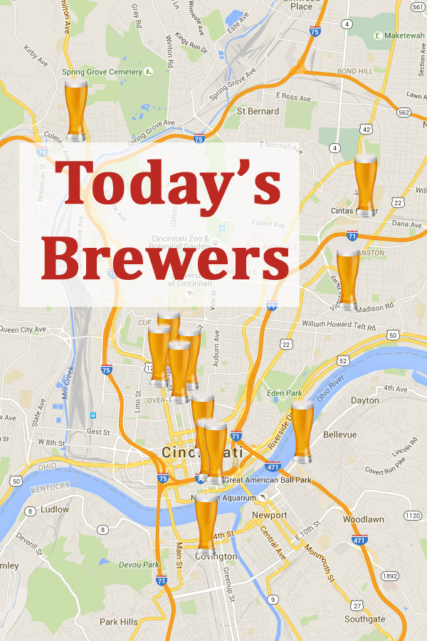 Cincinnati Brewing History Google map of current craft brewers in Cincinnati along with brewery information and address