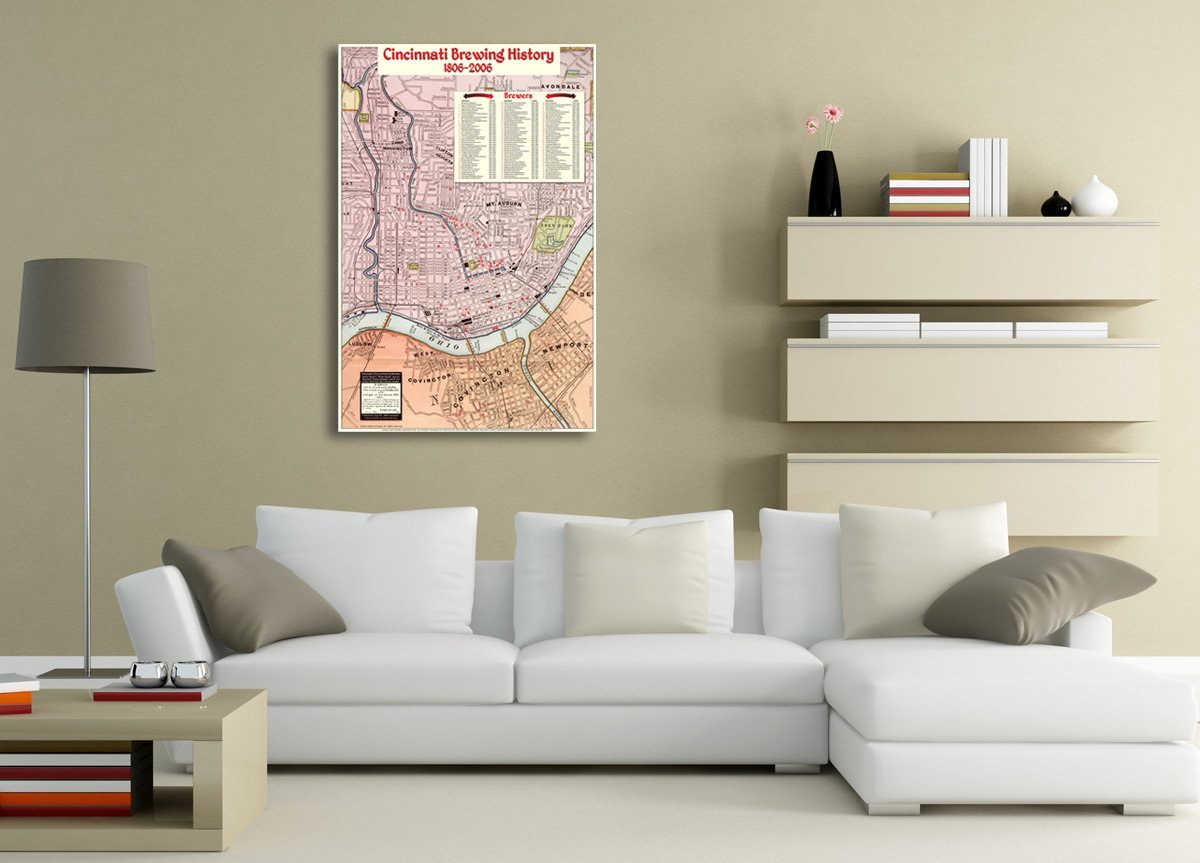 Cincinnati Brewing History Map art poster