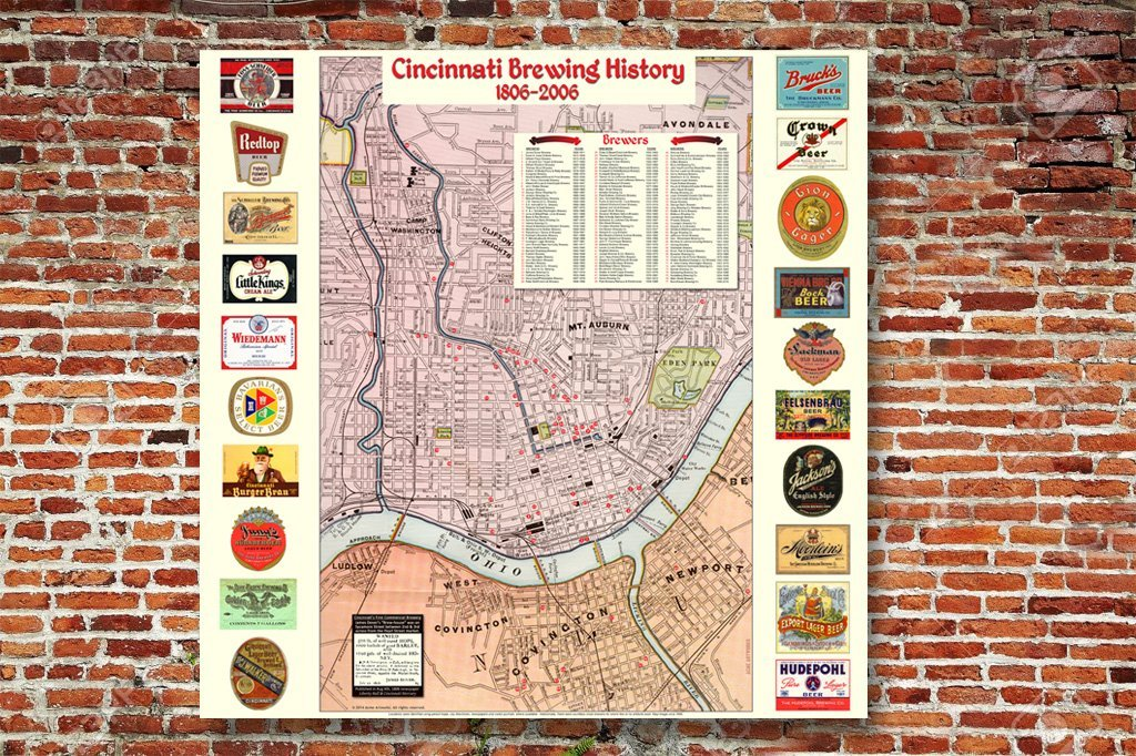 Cincinnati Brewing History map wall-hanging