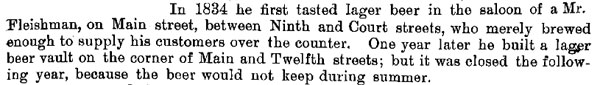 George Herancourt quote from History of Cincinnati and Hamilton County (1894) - first lager beer in Cincinnati 1834